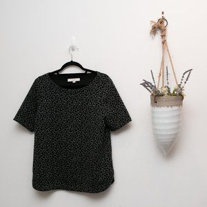 Gray & black medium Loft blouse